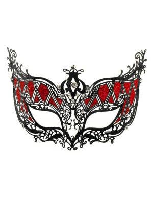 Harlequin Deluxe Metal Masquerade Mask - Black and Red
