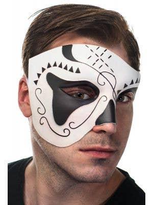 Over Eye Black and White Men's Masquerade Mask