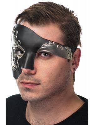 Over Eye Men's Deluxe Black and Silver Masquerade Mask