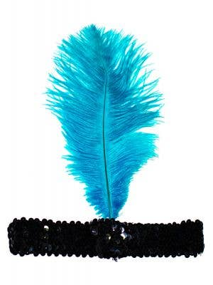 Soft Feather Turquoise and Black 1920's Flapper Headband
