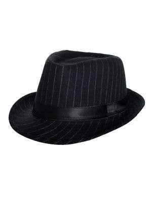 1920's Adults Black Gangster Trilby Hat with White Pinstripes