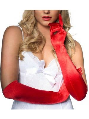 Long Satin Opera Gloves in Red