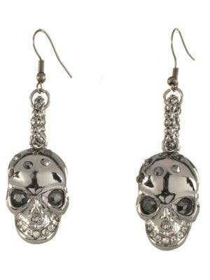Gun Metal Black Halloween Skull Earrings