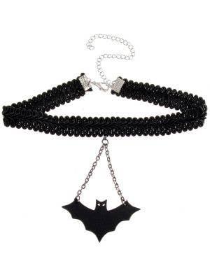 Leather Bat Braided Halloween Choker