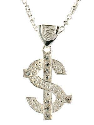 Bling Deluxe Silver Dollar Sign Gangster Necklace