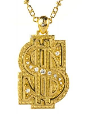 Chunky Gold Dollar Sign Bling Costume Necklace