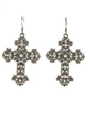 Gun Metal Black Gothic Cross Halloween Earrings