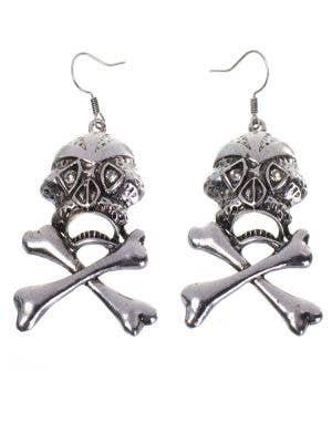 Silver Skull and Cross Bones Women's Earrings