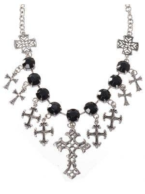 Gothic Crosses Black Jeweled Costume Necklace