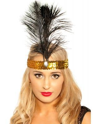 1920's Flapper Headband - Black with Gold