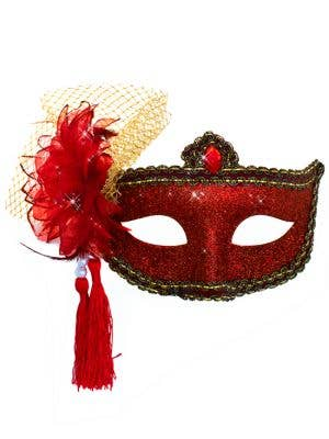 Celebration Glitter Masquerade Mask - Red