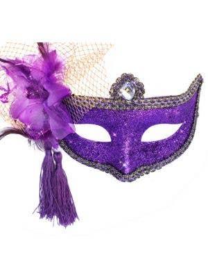 Celebration Glitter Masquerade Mask - Purple