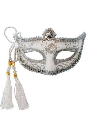 Tassel Venetian Masquerade Mask - White and Silver