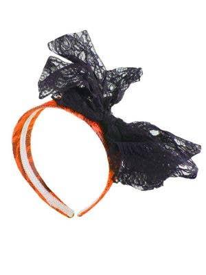 80's Neon Lace Headband with Bow - Orange