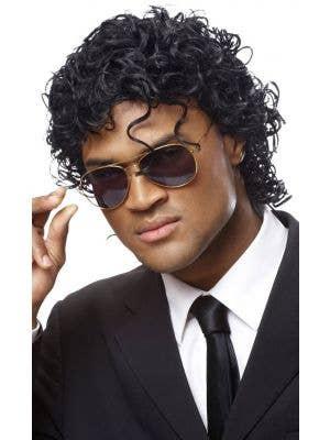 80's King Of Pop Men's Curled Black Costume Wig