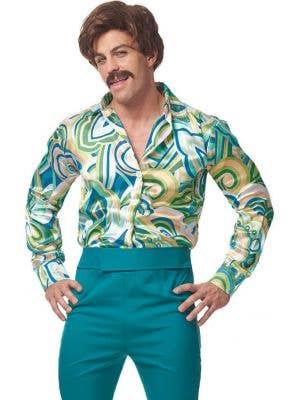 1970's Dude Men's Green Retro Fancy Dress Costume