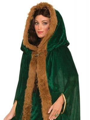 Medieval Fantasy Green Fur Trimmed Cloak
