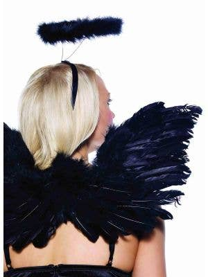 Dark Angel Black Feather Wings and Halo