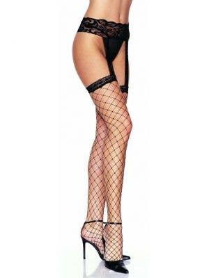 Fence Net Black Thigh High Stockings with Garter Belt
