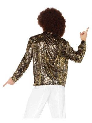 Zebra Gold Foil Print Men's Disco Costume Shirt