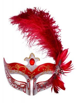 Venetian Side Feather Red Masquerade Mask