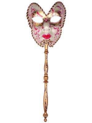 Volto Carnivale Pink Masquerade Mask with Stick