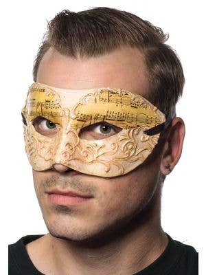 Music Notes Antique White Men's Masquerade Mask