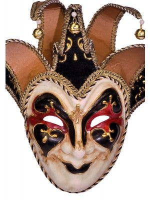 Deluxe Full Face Black Jester Masquerade Mask