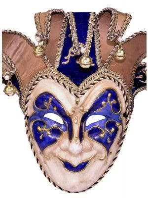 Deluxe Full Face Blue Jester Masquerade Mask