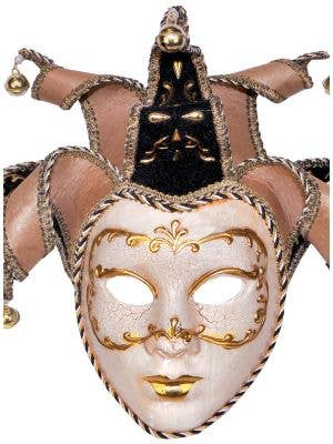 Deluxe Full Face Venetian Cream Masquerade Mask