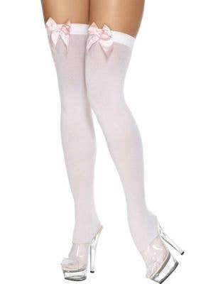 Thigh High White Stockings With Pale Pink Bows