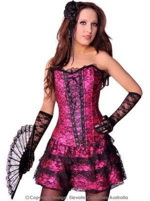 Women's Pink Spanish Style Skirted Costume Corset