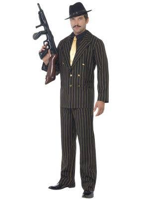 Razzle Men's Black And Gold Pinstripe Gangster Costume