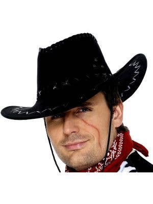 Leather Look Cowboy Hat in Black