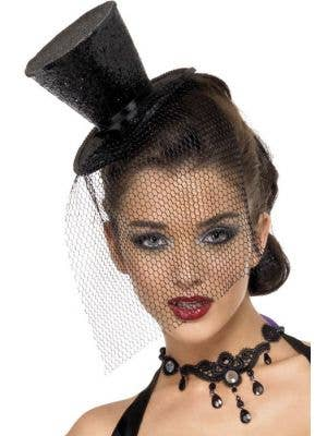 Fever Black Glitter Mini Top Hat