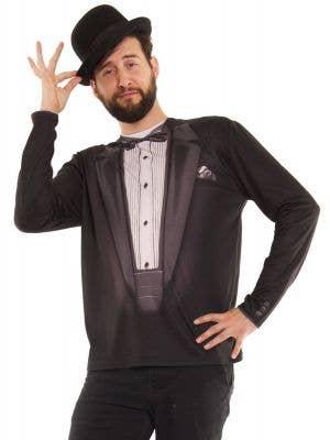 Faux Real Satin Lapel Tuxedo Funny Costume Top
