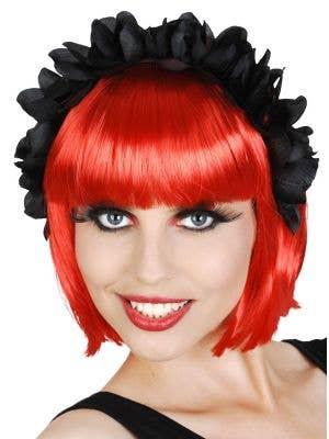 Sugar Skull Black Floral Headband