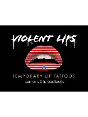 Red Sailor Stripes Tattoo Lip Makeup
