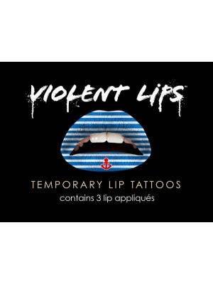 Blue Sailor Stripes Tattoo Lip Makeup