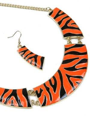 Zebra Print 1980's Women's Necklace and Earrings Set - Orange