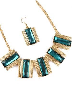 Dynasty 80's Women's Necklace and Earrings Set - Green