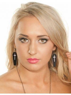 Leather Black Coffin Halloween Earrings