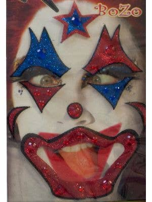 Bozo The Clown Blue and Red Stick On Makeup
