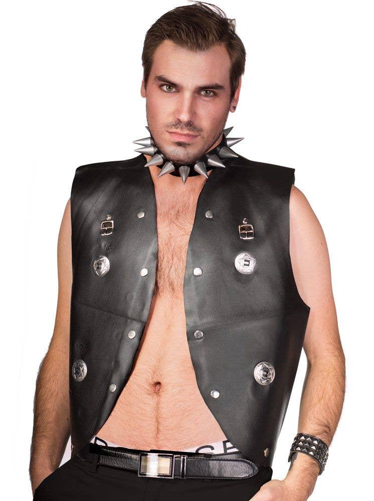 Punk Rock 70/'s 80/'s Fancy Dress Accessorio Neri Borchie Polsino Biker Goth Nuovo