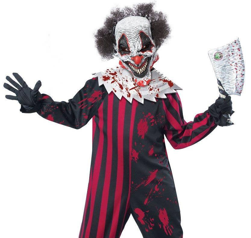 Striped Killer Clown Girls Fancy Dress Halloween Circus Horror Kids Costume HOT
