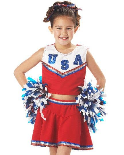 Girls Cheerleader USA American High School Fancy Dress Costume Childrens Outfit