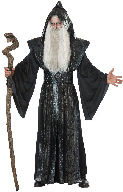 Black Long Wizard Cloak Halloween Magic Adults Mens Fancy Dress Costume
