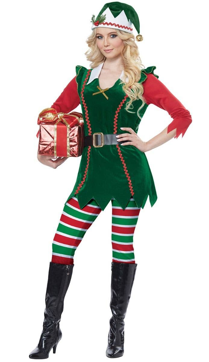 LADIES CHRISTMAS TIGHTS STOCKINGS FESTIVE ELF MRS CLAUS ACCESSORY FANCY DRESS