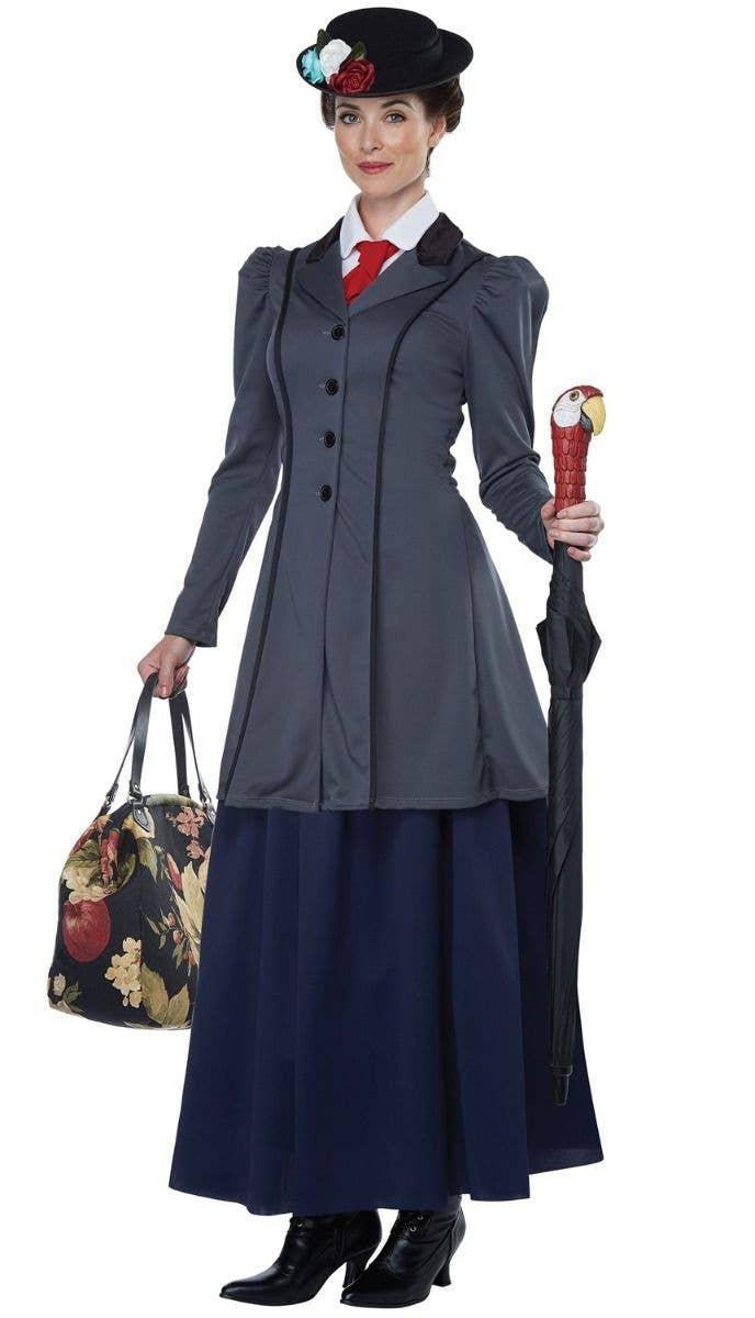 Womens Blue Victorian Lady Costume Movie Film Nanny Teacher Fancy Dress S XXL