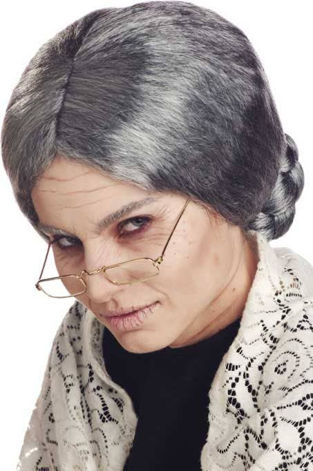 GRANDMA GRANNY OLD LADY GREY WIG WITH BUN COSTUME ACCESSORY CC70054